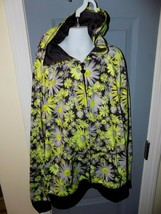 Justice Neon Yellow Daisy Athletic Full Zip Up Hoodie Jacket Size 14 Gir... - $17.94