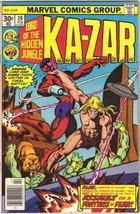 Ka-Zar Lord of the Hidden Jungle Comic Book #20 Marvel Comics 1977 VERY FINE- - $4.25