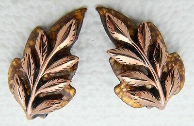VTG RARE MATISSE Renoir Copper LAUREL Brown Enamel Leaf Clip Earrings Brooch Set