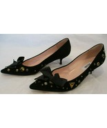 MOSCHINO Black Suede Kitten Heel Pumps w/ Studs & Black Bow at Front - S... - $115.00