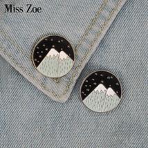 2pcs/set Mountain enamel pins Gold silver starry night moon badge brooch Lapel p - $3.99