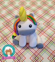 Rainbow Unicorn fondant cake topper - $30.00