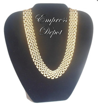 """Vintage Napier 16"""" Choker Necklace Smooth Mesh Panther Gold Tone Patent Pending - $29.95"""
