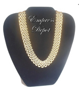 """Vintage Napier 16"""" Choker Necklace Smooth Mesh Panther Gold Tone Patent ... - $34.95"""