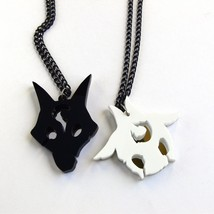 LoL Kindred friendship necklaces Laser cut black white acrylic - $23.16
