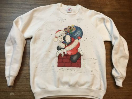 vintage ugly santa christmas sweatshirt jerzees XL