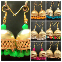 Indian Bollywood Gold Plated Jhumka Jhumki Pearls Earring Ethnic Fashion... - $8.99