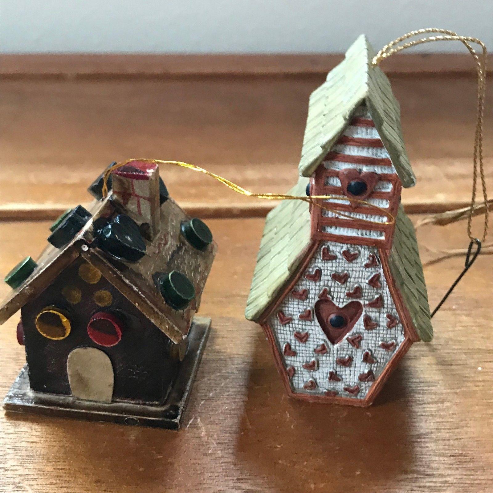 Estate Lot of 3 Mini Miniature Artist Signed Handmade White Wood Bird House SBB