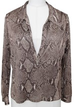 GUCCI Blouse Top Shirt Long Sleeve Animal Print Brown Black V-Neck Sz 40 - $364.33