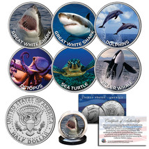 UNDERWATER SEA LIFE Great White Shark Whale Dolphin JFK Half Dollar 6-Co... - $28.01