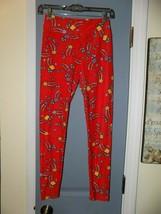 LuLaRoe Tulip Print Red Leggings Size OS Women's EUC - $25.81
