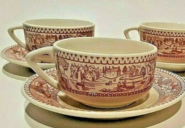 Vintage Memory Lane Royal Ironstone Pink Coffee Tea Cups 1965 Set of 3 - $18.69