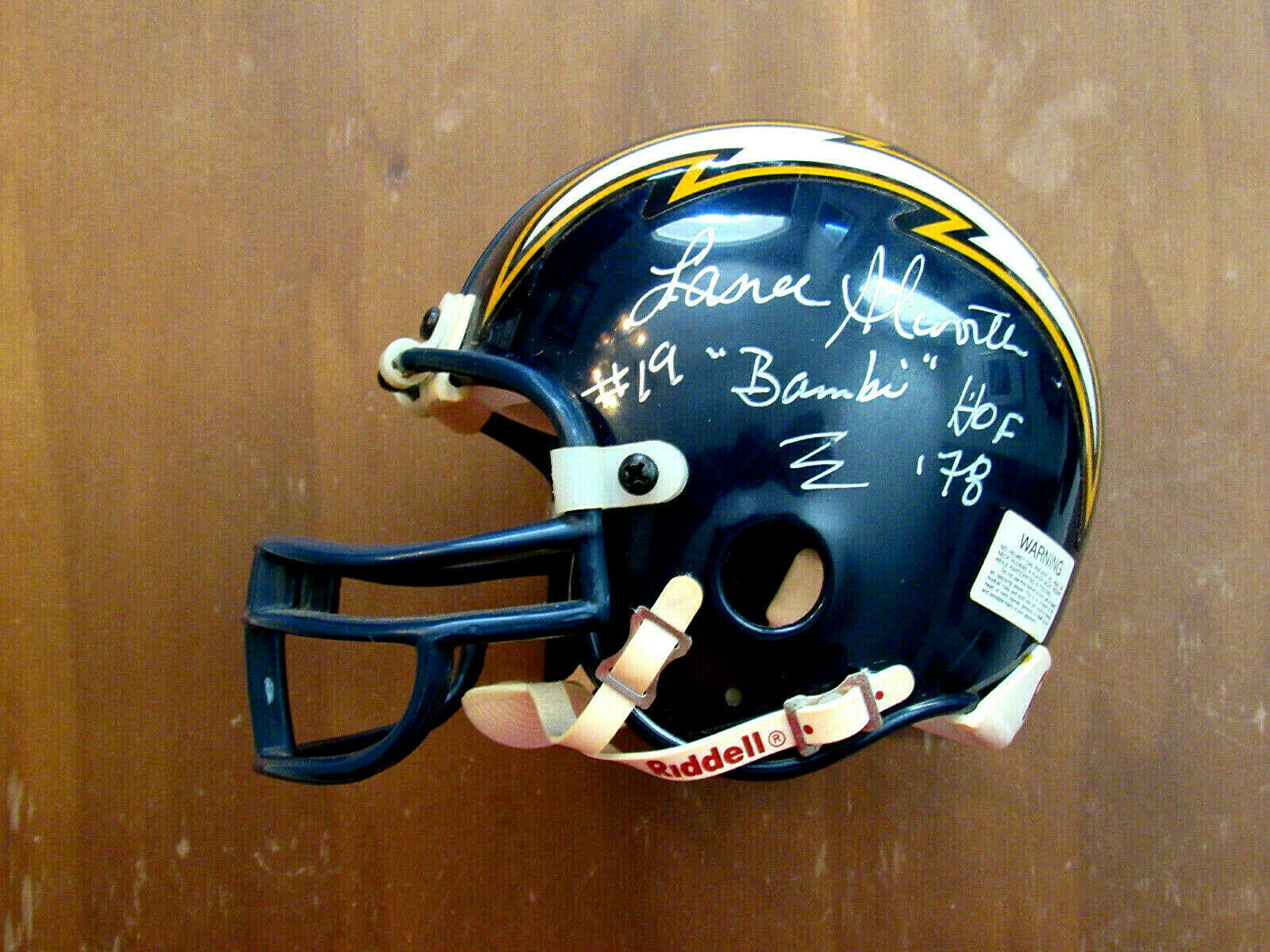 Primary image for LANCE ALWORTH # 19 BAMBI HOF CHARGERS SIGNED AUTO MINI RIDDELL HELMET JSA BEAUTY