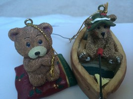 Mount Dora Florida Lot of 2 Bears Ornaments Praying Bear & Fishing Bear - $9.89