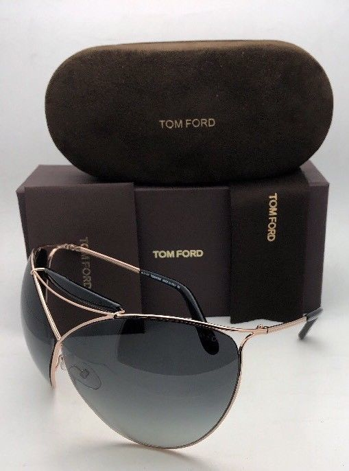 TOM FORD Sunglasses VERUSCHKA TF 220 28B 79-7 Gold & Black Frame w/Grey Gradient