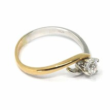SOLID 18K WHITE ROSE GOLD RING, WAVE SOLITAIRE WITH CUBIC ZIRCONIA 0.35 CARATS image 2