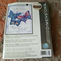 """Dimensions Stamped Cross Stitch Kit TODAY IS A GIFT 16730 Size 5"""" x 7"""" - $13.71"""