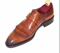 Handmade Men's Brown Heart Medallion Fringe Leather Shoes image 3
