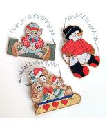 Cross Stitch Elf, Teddy Bear, Snowman Christmas Ornaments Set of 3 - ₨405.18 INR