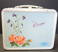 1970s Corsage-Flowers Thermos Brand-King Seeley.Metal Lunchbox With Thermos - $14.25