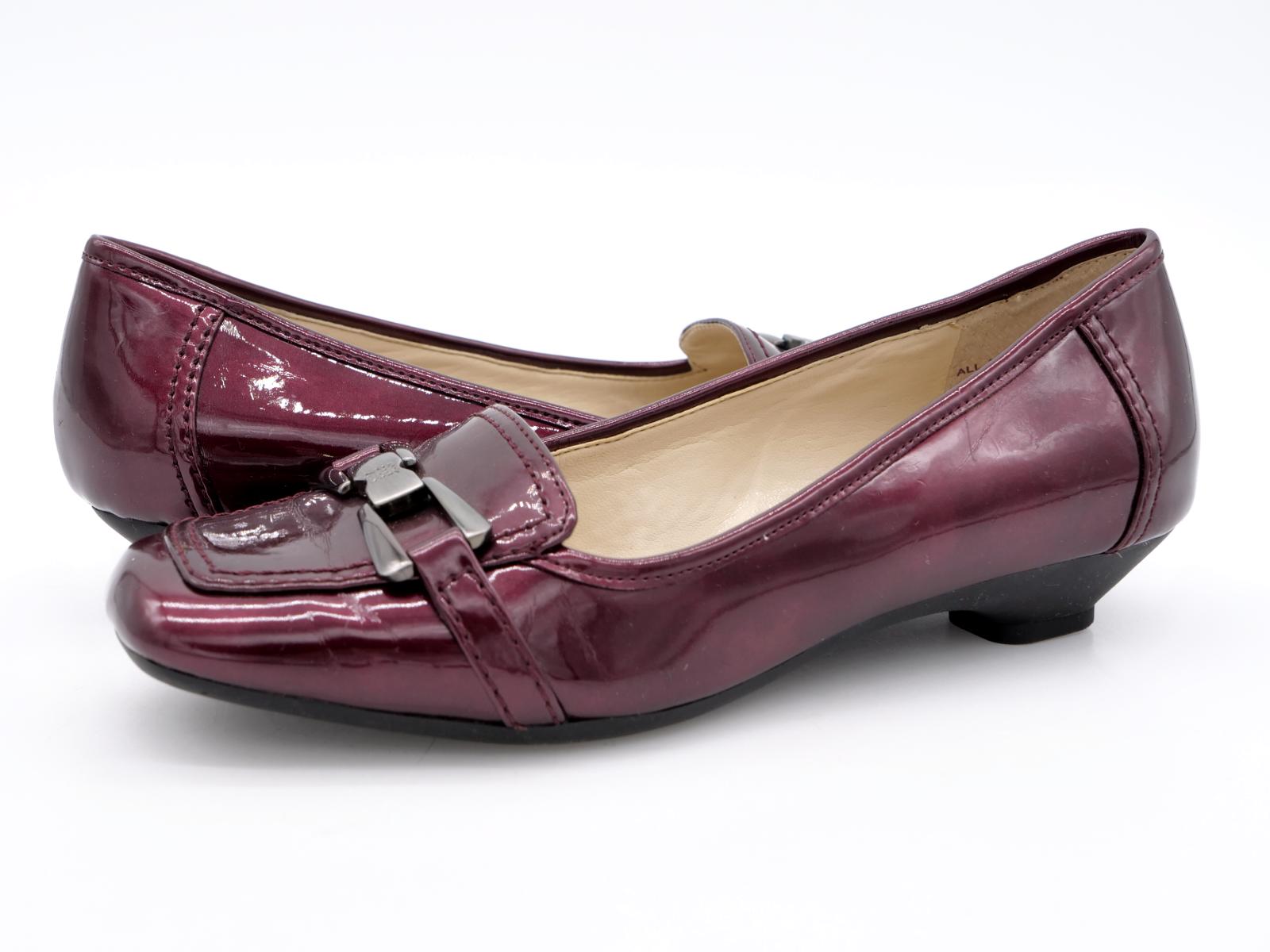 Anne Klein Womens 6.5M Justine Burgundy Square Moc Toe Slip On Cone Pump Heels - $19.99