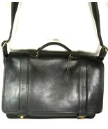 Coach Vintage Black Leather Briefcase Messenger Bag with Strap - Made In... - $164.89