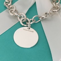 """7.75"""" Tiffany & Co Silver Round Tag Charm Bracelet Blank Perfect For Engraving - $195.00"""