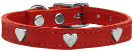 Silver Heart Widget Genuine Leather Dog Collar Red 22 - $25.10