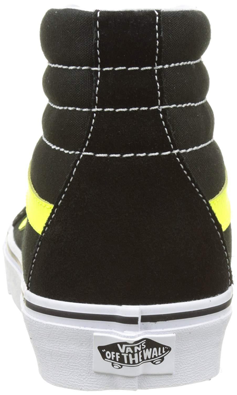 bc6defb34dc47c Vans Unisex Sk8-Hi Reissue Skate Shoes-Black Neon Yellow-10.5-