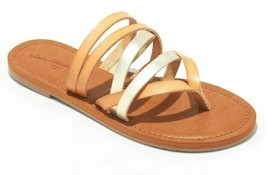 NEW Universal Thread Women's Tan Gold Maritza Multi Strap Toe Slide Sandals