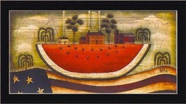 FRAMED Watermelon Farm by David Harden 20x10 Folk Art Art Print Primitive - $48.62