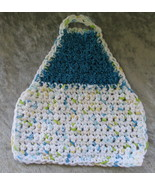 Eco Friendly Crocheted Dish Cloth Apron with Scrubbie Blue and White - $12.95