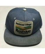 Vtg Roundup Denim Trucker Hat Made In The USA Patch Cap Agriculture Farm... - $39.59
