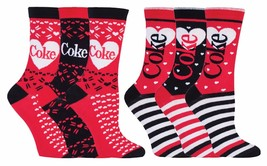 Coca Cola - 3 Pack Womens Striped Heart Pattern Novelty Cotton Socks in Gift Box - $12.99