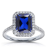 Emerald Cut Blue Sapphire Womens Engagement Ring 14k White Gold Over 925... - $72.99
