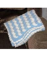 Blue & White Striped Hand Crocheted Baby Blanket - $45.00