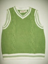 Children's Place Boys Sweater Vest Size 4 Green White Cable Knit Casual Easter  - $12.61