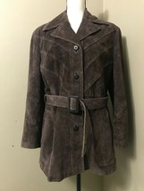 THE TANNERY Montgomery Ward Vintage Brown Suede Leather Jacket Long Coat... - $53.20