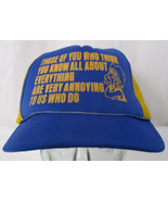 """Vintage """"Think You Know Everything"""" Rope Front Novelty Snapback Hat Cobr... - $10.39"""