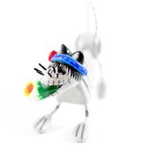 Saul Montesinos Day of the Dead Kitty Cat w Lily Clay & Wire Folk Art Figurine image 2
