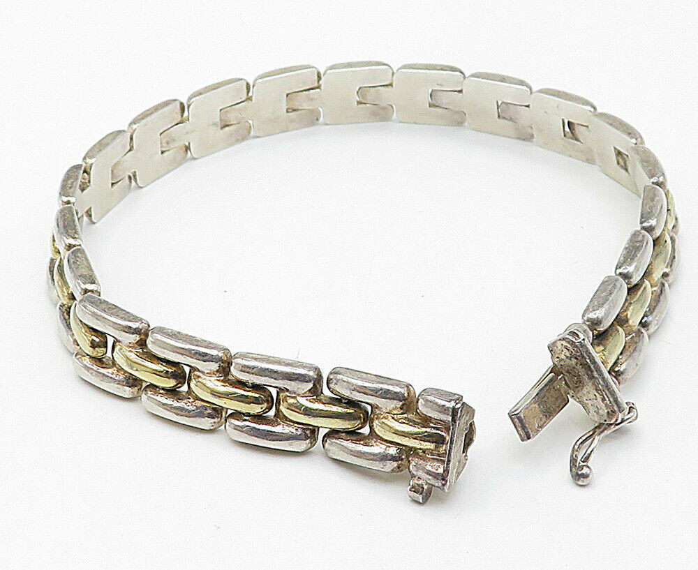 925 Sterling Silver - Vintage Two Tone Smooth Square Link Chain Bracelet - B4959 image 3