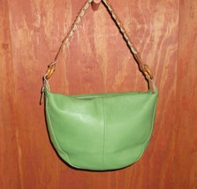 Fossil Green & Brown Leather Hobo with Braided Shoulder Strap - $29.00
