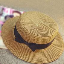 Floppy Foldable Ladies Women Straw Beach Sun Summer Hat Beige Wide Brim Breathab image 4