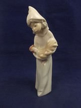 Lladro 4677 Bisque Finish  Girl with Rooster Figurine - $89.09