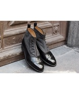 Handmade Men Two Tone Button Boot, Men Black And Gray Ankle Boots, Men Boot - $159.99+