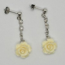 Silver Earrings 925 Rhodium Hanging Zircon Cubic and Pink Beige of Resin image 1