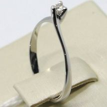 WHITE GOLD RING 750 18K, SOLITAIRE WITH DIAMOND CARAT 0.05, CRISS CROSSED, ITALY image 3