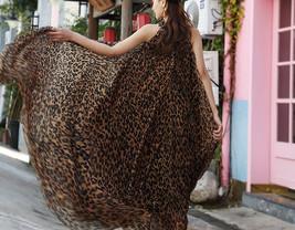 Sleeveless Plus Size Leopard Chiffon Dress Maxi Summer Beach Leopard Dresses image 2