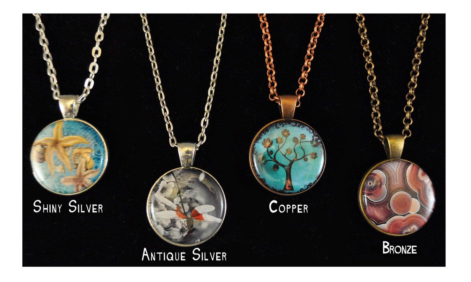 magnetic pendant necklace interchangeable copper silver