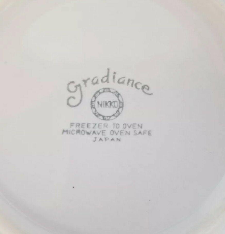 Nikko Gradiance Cereal Soup Bowl Lid Set of 4 Azure Leafette Dish Microwave Safe